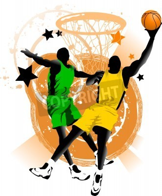Plakát player in basketball at the background of basketball rings (vector);