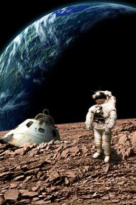 Plakát Pletl astronaut mapuje jeho situaci - Prvky tohoto obrázku zařízený NASA.
