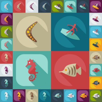 Plakát Plochá koncepce, nastavte moderní design s stínovými avstralia