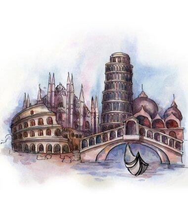 Plakát Podle názoru Itálie akvarel Evropské unie země na bílém pozadí