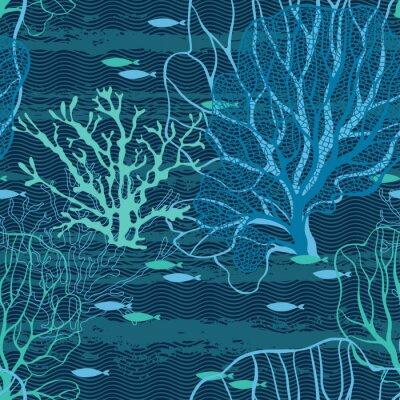 Plakát Podmořský svět. Bezešvé vektoru vzor s mořských rostlin a ryb