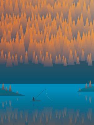 Plakát Podzimní krajina vektorové pozadí s listy stromů a jezerem. Rybář rybaření ze člunu