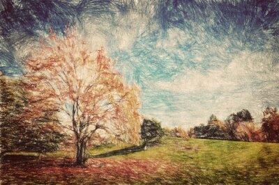Plakát Podzimní park. Green Hill v červených listů. Vintage art