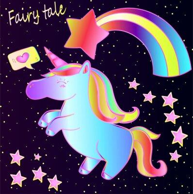 Plakát Pohádka - roztomilý neon jednorožce a duha se srdcem a hvězdami na pozadí tmavého přechodu