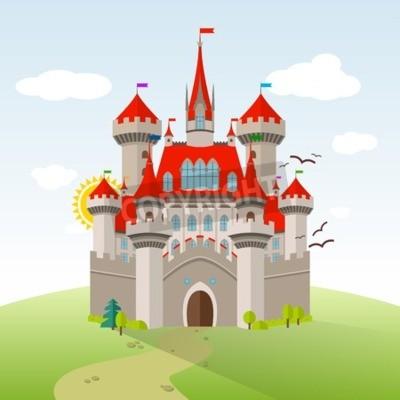 Plakát Pohádkový hrad. Vektorové představivosti dětské ilustrace. Plochá krajina se zelenými stromy, trávou, cestou, kameny a mraky