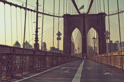 Plakát Pohled na pěší chodník, Brooklynský most