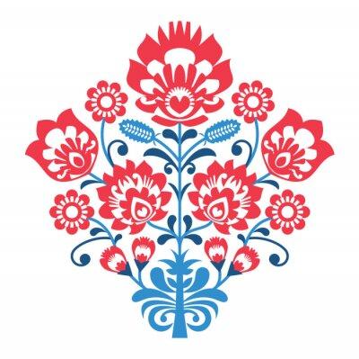Plakát Polish Folk art pattern with flowers - wzory lowickie, wycinanka