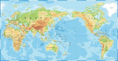 Plakát Political Physical Topographic Colored World Map Pacific Centered