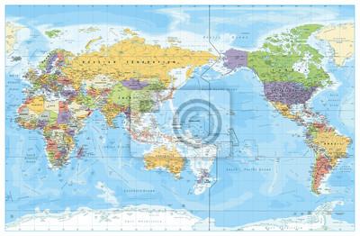 Plakát Politická mapa na střed Pacifiku. Země a hlavní města, města, hranice a vodní objekty, státní obrys. Detailní mapa světa vektorové ilustrace.