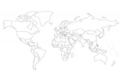 Plakát Politická mapa světa s místy namísto malých států. Prázdná mapa pro školní kvíz. Zjednodušený černý tenký obrys na bílém pozadí.