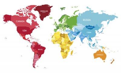 Plakát Politická mapa světa vektorové ilustrace s různými barvami pro každý kontinent a různé tóny pro každou zemi. Upravitelné a jasně označené vrstvy.