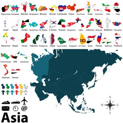 Plakát Politické mapy Asie