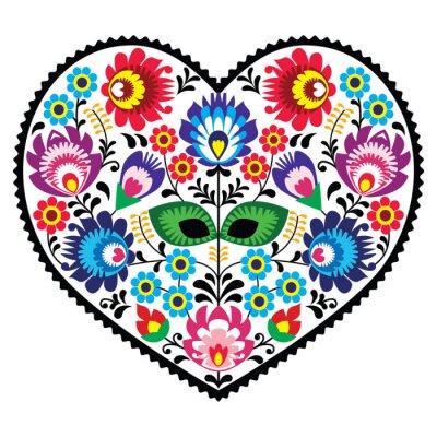 Plakát Polská lidová art srdce s květinami - wzory lowickie