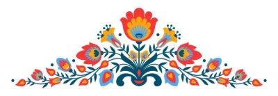 Plakát Polská lidová papercut styl květiny