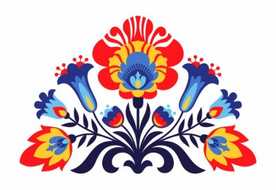 Plakát Polské lidové inspirovaný květiny