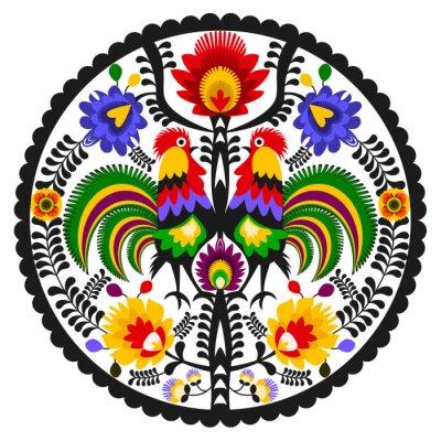 Plakát Polski folklor - okrągły wzór Ludowy