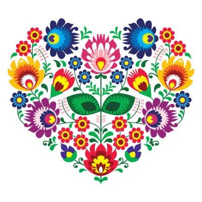 Plakát Polský olk art srdce vyšívání - wzory lowickie