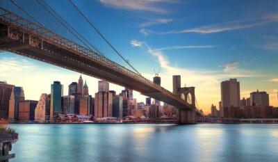 Plakát Pont de Brooklyn vers Manhattan, New York.
