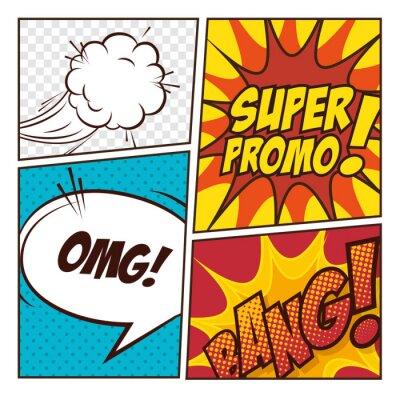 Plakát Pop art komiksové bubliny designu