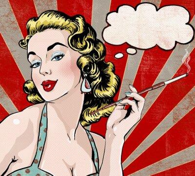Plakát Pop Art Žena s bublinu a cigarety.