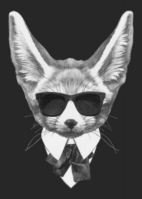 Plakát Portrait Fennec Fox in suit. Hand-drawn illustration of dog. Vector isolated elements.