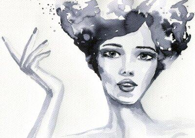 Plakát portret kobiety akwarelowy