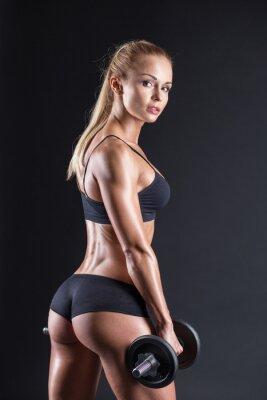 Plakát Portrét krásná dívka sportovec s činka ve studiu