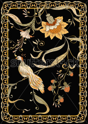 Plakát Poster, background with flowers and bird in art nouveau style, vintage, old, retro style. Stock vector illustration. On black background.