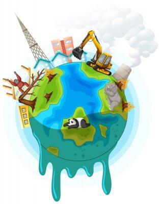 Plakát Poster design with global warming problem