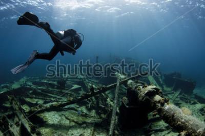 Plakát Potápěč, plavání přes vrak lodi