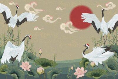 Plakát pozadí s japonskými jeřáby při západu slunce