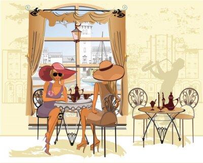 Plakát Přátelé v kavárně pití kávy.