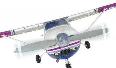 Plakát Přední část letadla Cessna 172 jednotného vrtule na bílém