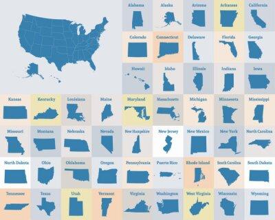 Plakát Přehled mapy Spojených států amerických. Státy USA. Vektor.
