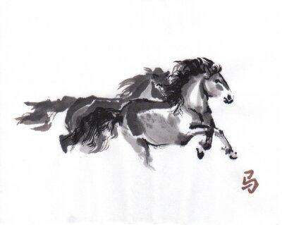 Plakát Přehrávání koně orientální tušové malby s čínskými hieroglyfem