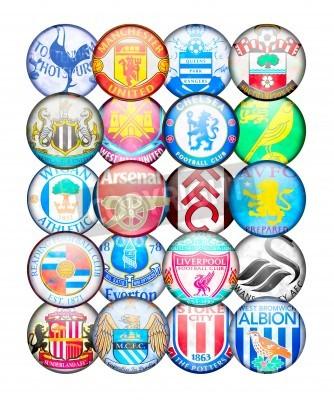 Plakát Premier Liga Týmy 2012/13: Barvy a odznaky anglických fotbalových klubů