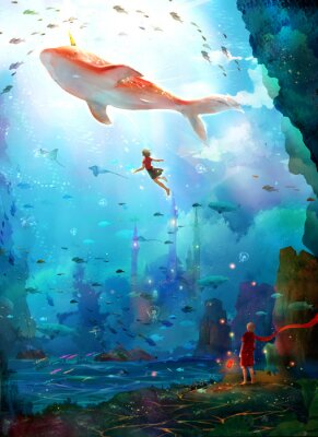 Plakát Pure, literary, small and fresh, illustrations, beautiful women, girls, girls, fairy tales, dreams, fantasies, dreams, cities, castles, seabed, whales, deep sea, girls, schools of fish, oceans,