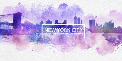 Plakát Purple New York City Dreams Pohlednice Malování