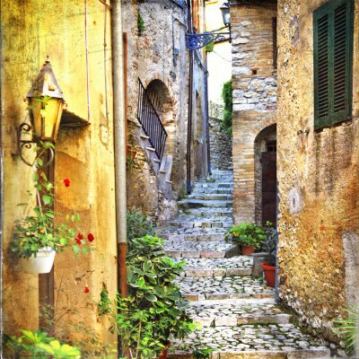 Plakát půvabné staré ulice středozemí