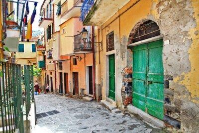 Plakát půvabné středomořské ulice, Cinque terre, Itálie