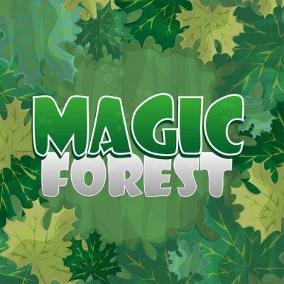 Plakát Rám pro výzdobu textu. Začarovaný les se zeleným javorovým listem - karikatura