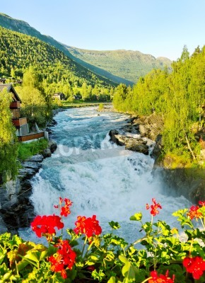 Plakát Ráno nad řekou Bovra v Norsku.