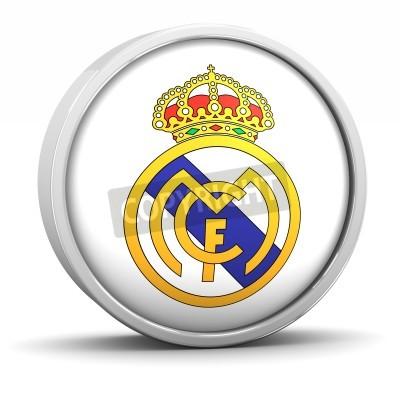 Plakát Real Madrid logo s kruhovým kovovým rámem. Součástí série.