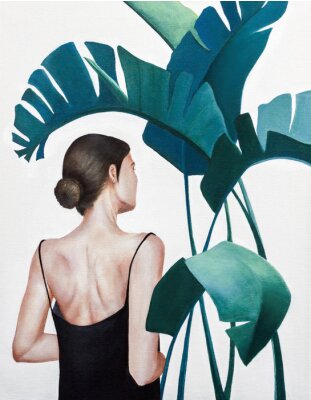 Plakát realistic acrylic painting of woman with green plants