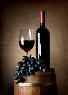 Plakát Red wine with barrel and grapes