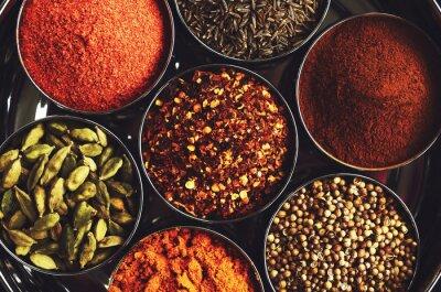 Plakát Regál s tradičním indickým kořením na vaření - kardamom, kurkuma, kmín, koriandr semen, skořice a chilli