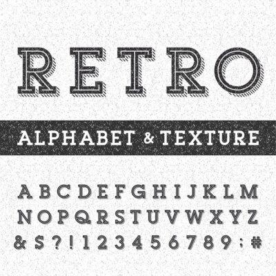 Plakát Retro abeceda vektorové písmo s ohroženými překryvné texturou. Typu písmena Serif, číslice a symboly na nouzi poškrábaný pozadí. Stock vektor typografie pro štítky, titulky, plakáty atd.