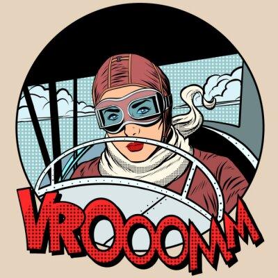 Plakát Retro Aviator žena v letadle