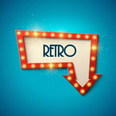 Plakát Retro banner s zářící světla. Vektorové ilustrace.