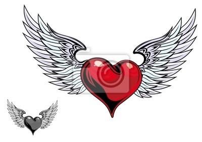 Retro Barevne Srdce Tetovani Plakaty Na Zed Plakaty Odznak